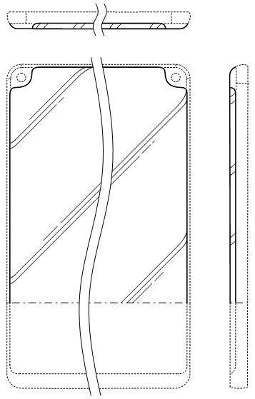 Design patent drawing: Three curved edges